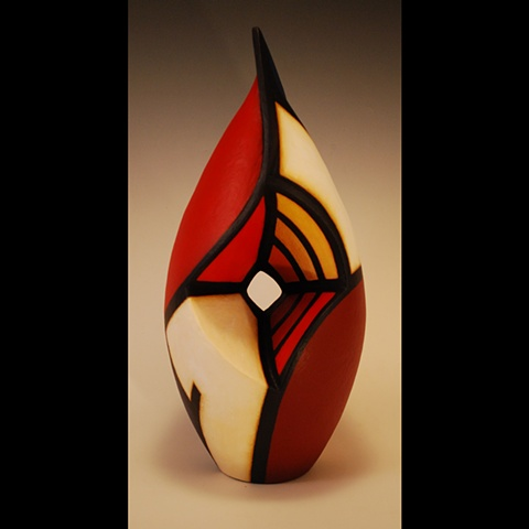 Sculptural clay form by Terry Habeger, handpainted with acrylics.