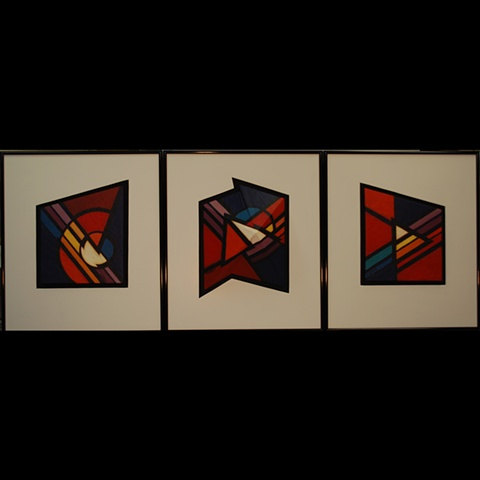 Set of 3 clay tiles, center one is 3D, handpainted with acrylics.