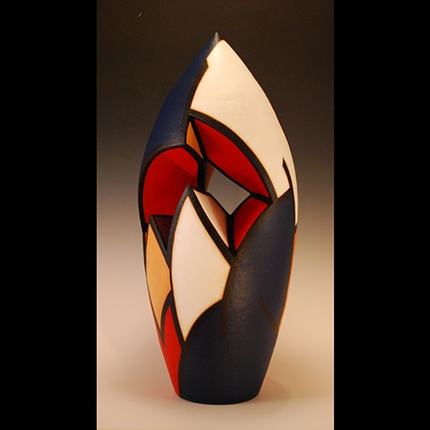 Clay sculpture, wheel-thrown and altered by Terry Habeger, handpainted with acrylic paint.