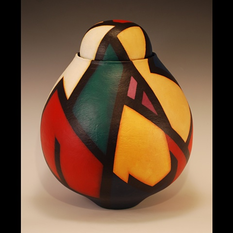 Wheel-thrown sculptural clay form by Terry Habeger, handpainted with acrylic paint.