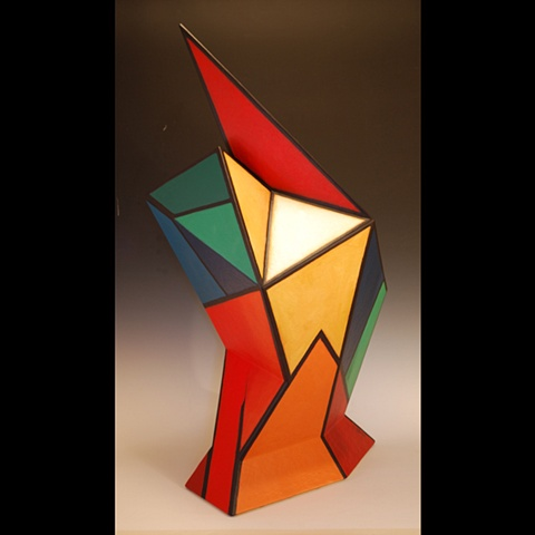 Sculptural for of masonite and acrylic paint by Terry Habeger