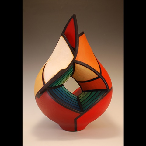 Wheel-thrown and altered sculptural clay form by Terry Habeger, handpainted with acrylics.