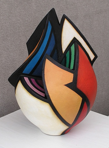 Wheel-thrown and altered ceramic form by Terry Habeger, handpainted with acrylics.