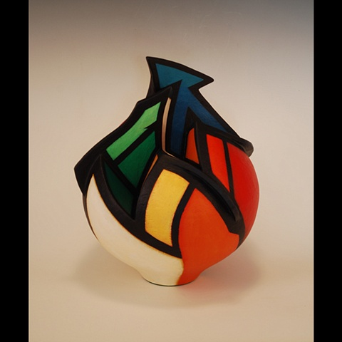 Acrylic paint on sculptural clay form by Terry Habeger, wheel-thrown and altered.