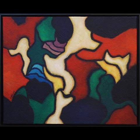 Acrylic paint on canvas, canvas textured with an acrylic paste.