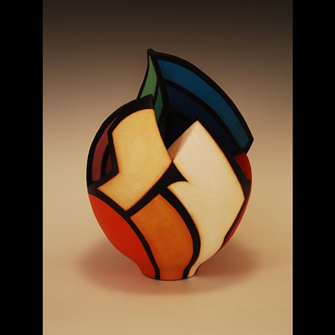 Wheel-thrown and altered clay form by Terry Habeger, handpainted with acrylics