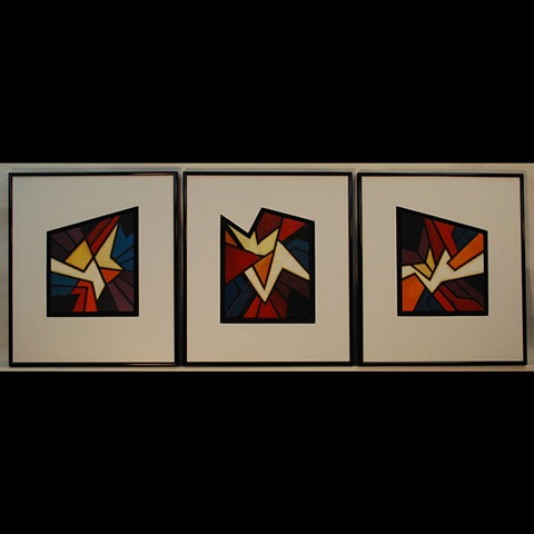 Set of 3, acrylic paint on clay, center one 3D.