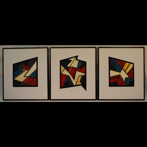 Set of 3, acrylic paint on clay, Center piece 3D.