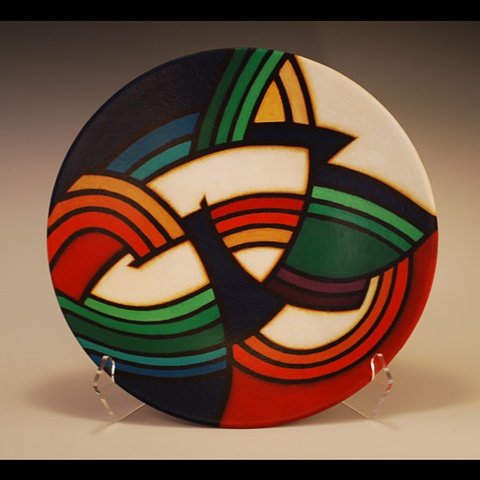 Wheel-thrown clay bowl by Terry Habeger, fired and handpainted with acrylic paint.