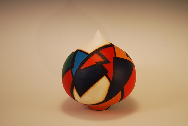 Wheel-thrown, sculptural clay form by Terry Habeger, handpainted with acrylics.