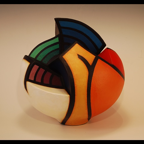 Wheel-thrown, sculptural clay form by Terry Habeger, Altered with Clay Slabs. Painted with Acrylics
