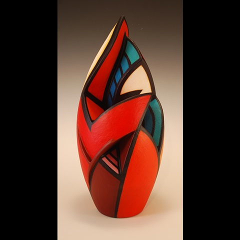 Wheel-thrown and altered clay form by Terry Habeger, handpainted with acrylics.