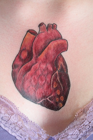 Heart on chest, beginning of chest piece