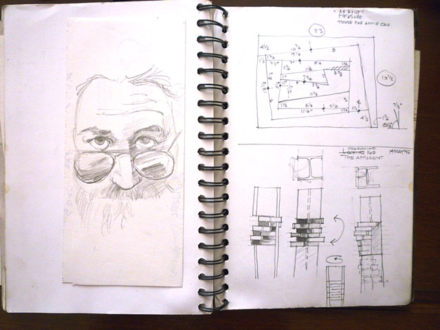 As built measurements for 'House for Annie Chu', Jerry Garcia, &  concept drawing  for one of the '3 Graces'.