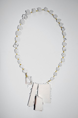 necklace, porcelain, silver, slate