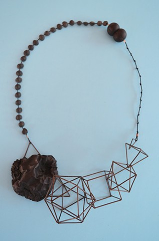 necklace, Concrete, silver, dried apple
