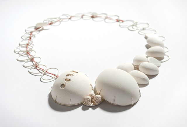 necklace, porcelain, silver, eggs
