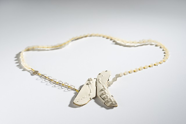 necklace, porcelain, silver, beads