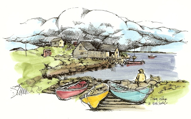 NS Fishing Village, 3 Dories