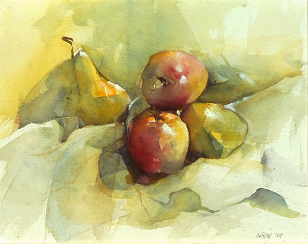 Apples and Pears on a Green Cloth