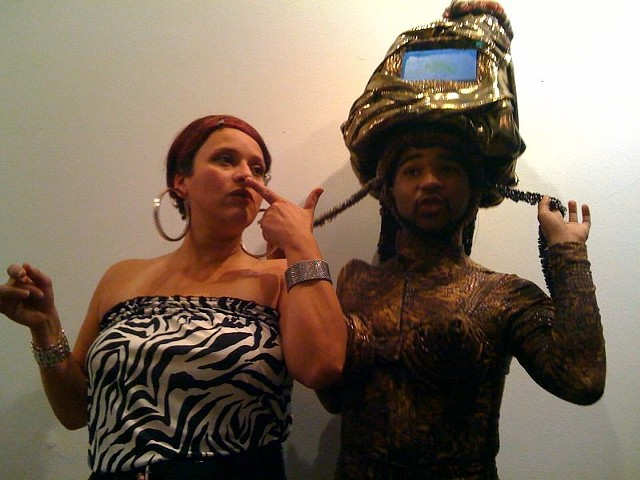 "Chuleta ""crashes"" Be Black Baby @Recess Activites (by Simone Leigh NYC 2011)...seen here with Jacolby Satterwhite"