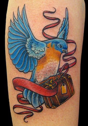 Bluebird with suitcase