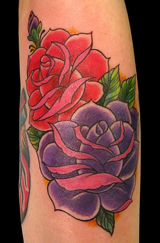 red and purple roses