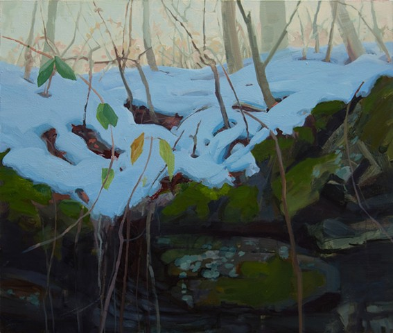 ozarks winter forest floor contemporary painting
