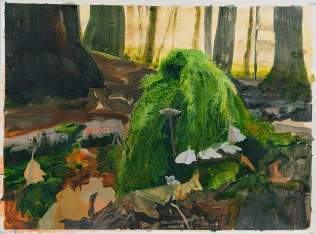 Forest floor contemporary painting moss
