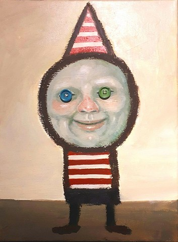 Artist, Art, Portrait, Buttons, Button Eyes, Oil Painting, Acrylic Painting, Drawing, Clown,Pascal Leo Cormier, Montreal, Contemporary Art, Lowbrow Art, Hi Fructose Magazine, Juxtapoz Magazine