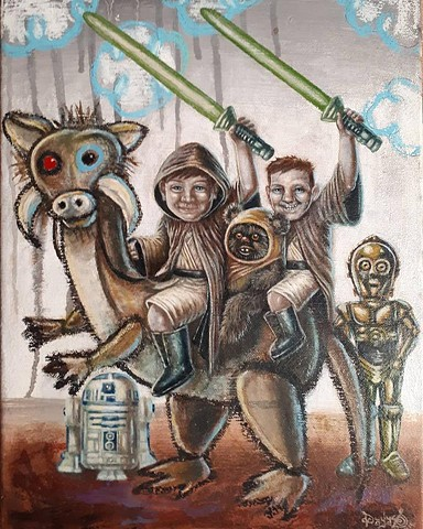 Artist, Art, Portrait, Kids, Children, Imagination, Star Wars, Oil Painting, Acrylic Painting, Drawing, Portrait, Commission, London, England, UK, Giclee Print,Pascal Leo Cormier, Montreal, Contemporary Art, Lowbrow Art, Hi Fructose Magazine, Juxtapoz Mag