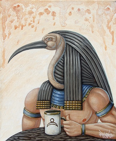 Art, Painting, Thoth, Acrylic, Oil Sticks, Pascal Leo Cormier, Payazo, Montreal, Egypt, Coffee