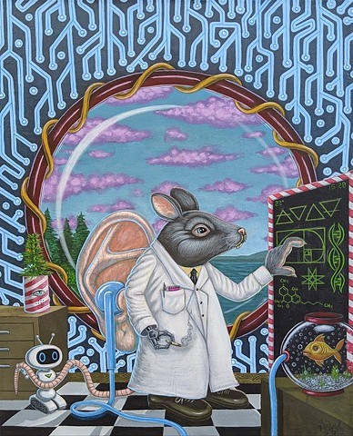 Artist, Art, Acrylic Painting, Drawing, Rat, Illustration, Lab Rat, Laboratory, Science, Technology, Future, Cannabis, Pot, Marijuana, Peace, Pascal Leo Cormier, Montreal, Contemporary Art, Lowbrow Art, Hi Fructose Magazine, Juxtapoz Magazine, Art Prints