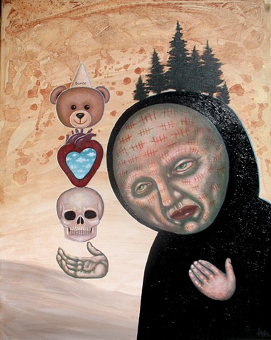 Pascal Leo Cormier, Payazo, Art, Acrylic, Painting, Totem, Lonely, Hearts. Montreal, Galerie Abyss