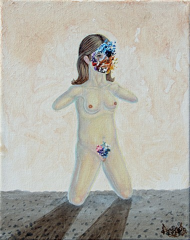 Art, Painting, Portrait, Acrylic, Oil Sticks, Pascal Leo Cormier, Payazo, Montreal, Naked, Woman, Hopeless