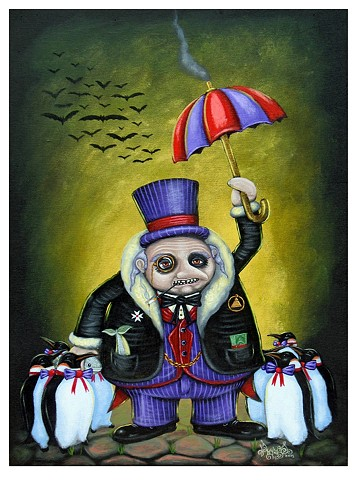 Artist, Art, Portrait, Kid, Batman, Joker, Gotham, Oil Painting, Acrylic Painting, Drawing, Punk, Punk Rock, Art Print, Giclee Print,Pascal Leo Cormier, Montreal, Contemporary Art, Lowbrow Art, Hi Fructose Magazine, Juxtapoz Magazine, The Penguin, Oswald