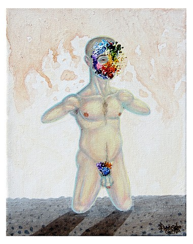 Artist, Art, Self-Portrait, Oil Painting, Pascal Leo Cormier, Montreal, Portrait, Contemporary Art, Man, Naked Man, Hopeless, John