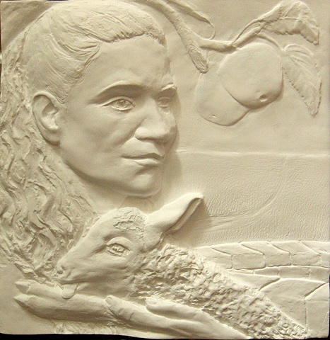 Bas relief: Rachel at the Well, by sculptor Rivkah Walton