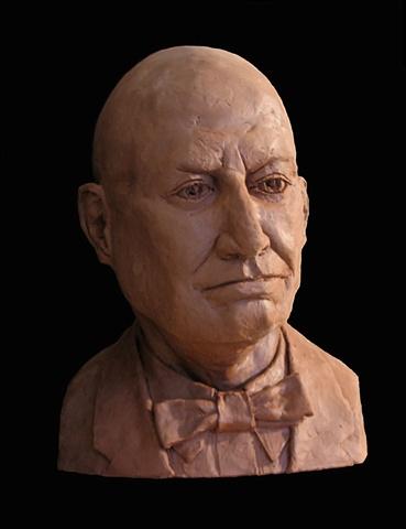 The Professor/Portrait of Bill - life-sized terra cotta portrait bust by sculptor Rivkah Walton