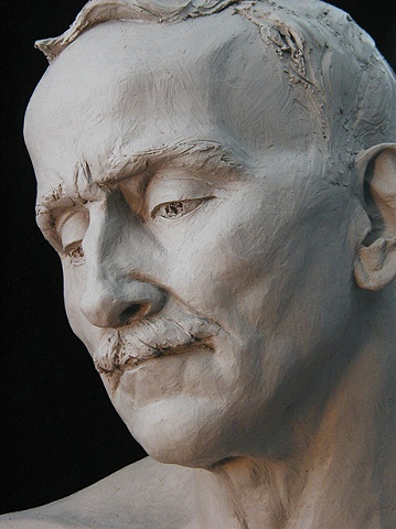 Portrait of Christopher Windle - life-sized terra cotta bust of the artist by sculptor Rivkah Walton