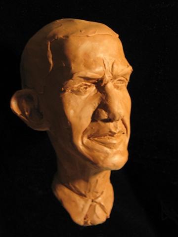 Caricature sketch: Barack Obama, by sculptor Rivkah Walton
