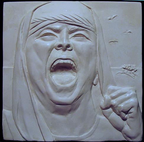 Bas relief: Hagar in the Wilderness, by sculptor Rivkah Walton