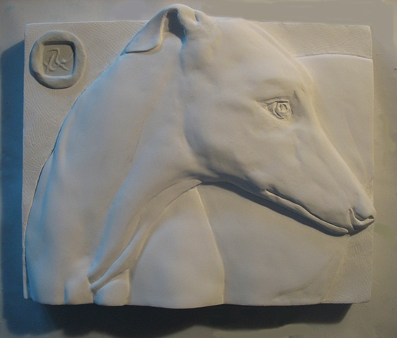 Low bas relief: Greyhound, by sculptor Rivkah Walton