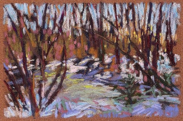 Pastel landscape drawing woods winter