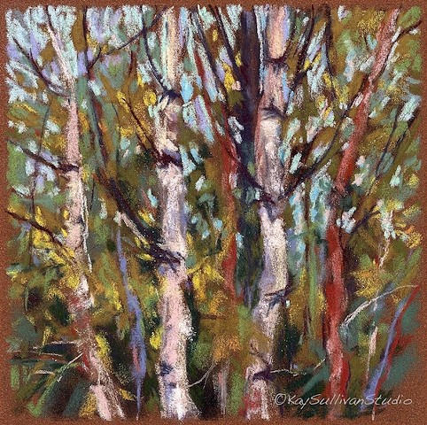 Pastel landscape birch trees