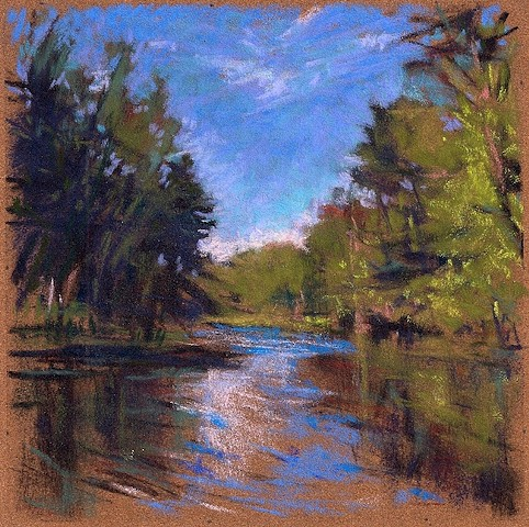 Summer river drawing pastel
