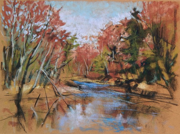 Plein air spring river pastel drawing
