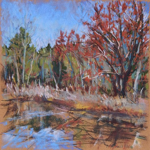 Spring river pastel drawing, plein air