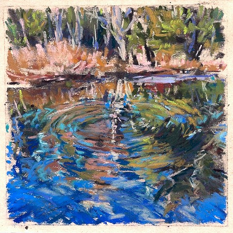 Riverbank Reflection I (ripple) _4 x 4""