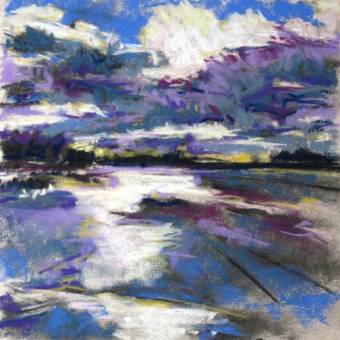 sky clouds water frozen pastel landscape